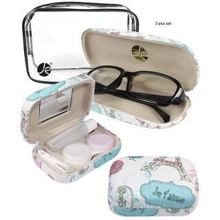 JAVOedge Pink and White Paris Pattern Fabric Eyeglasses Case