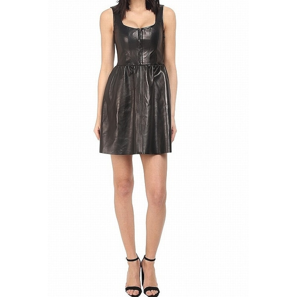 Red Valentino Black Womens US 2 IT 40 Corset Leather A-Line Dress