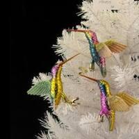 "Club Pack of 12 Noble Gems Glass Hummingbird Christmas Ornaments 5"" - multi"