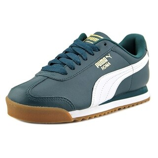 Puma Roma Basic Gold Men Round Toe Leather Blue Sneakers (Option: 9.5)
