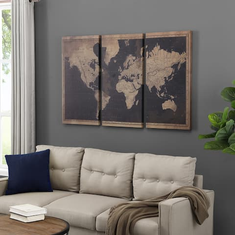 FirsTime & Co.® Antiquated World Map Canvas 3-Piece Set, American Crafted, Antiqued Tan, Canvas, 54 x 1.5 x 35 in