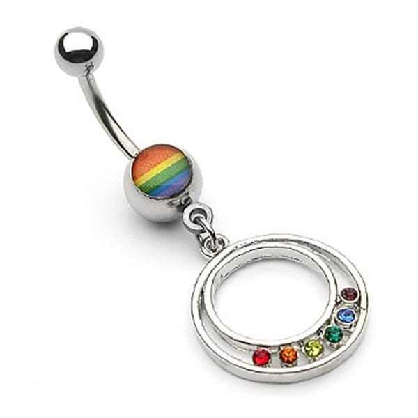 """Rainbow Gay Pride Epoxy Round Pendant with Gem Navel Belly Button Ring - 14GA 3/8"""" Long (Sold Ind.)"""