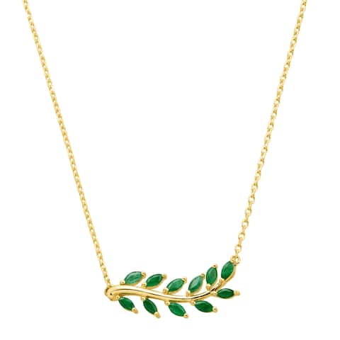 1 ct Natural Emerald Leaf Garland Necklace in 10K Gold - Green