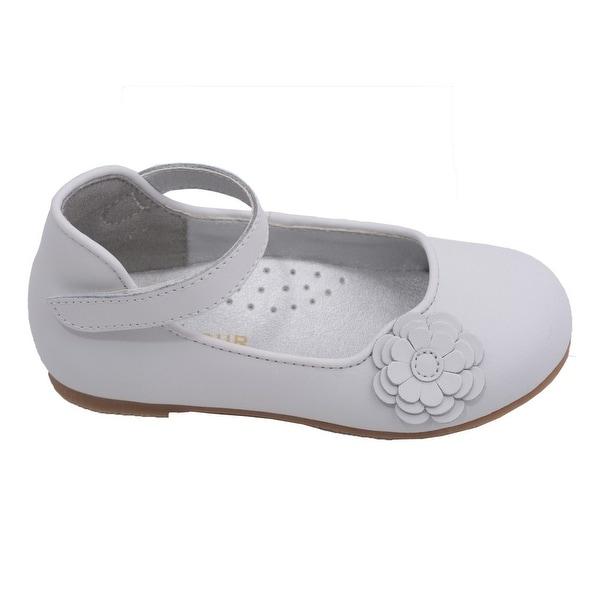 2ce39ea716061 L  x27 Amour Toddler Girls White Flower Applique Velcro Strap Flats 4-10