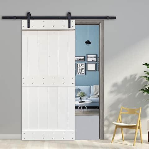 36 in x 84 in White Stained 2 Panel Barn Door with Sliding Hardware