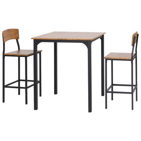 HOMCOM 3 PCs Modern Counter Height Dining Table Set with 2 Matching Stools Foorest Steel Legs