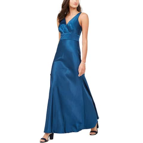 Nightway Womens V-Neck Satin Gown Petite 8 Blue
