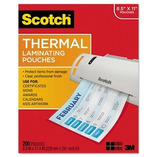 "Scotch Laminating Pouches, 3 mil, 9"" x 11.5"", Gloss Clear, 200/Pack"