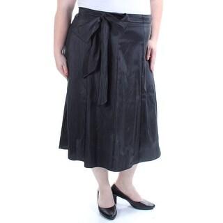 MSK $69 Womens 1437 Black Tea-Length Casual Skirt 2X Plus B+B