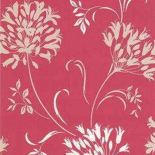 Brewster DL30454 Nerida Pink Floral Silhouette Wallpaper