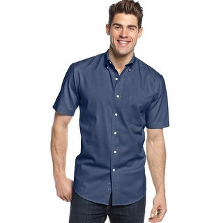 Club Room Big and Tall Short Sleeve Button-Down Shirt Navy Blue XLT Tall