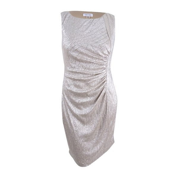 Shop Calvin Klein Women\'s Plus Size Ruched Metallic Jersey Dress 18W ...