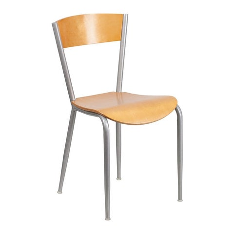Offex Invincible Series Metal Restaurant Chair - Natural Wood Back and Seat [XU-DG-60217-NAT-GG]