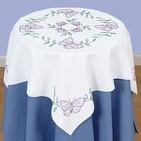 """Butterflies - Stamped White Perle Edge Table Topper 35""""X35"""""""