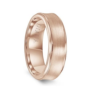 14k Rose Gold Men S Brushed Finish Concave Wedding Ring By Diana 7mm