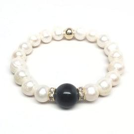 Freshwater Pearl & Black Onyx 'Joy' stretch bracelet 14k Over Sterling Silver