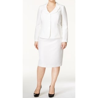 Le Suit NEW White Petal Collar Women's Size 18W Plus Skirt Suit Set
