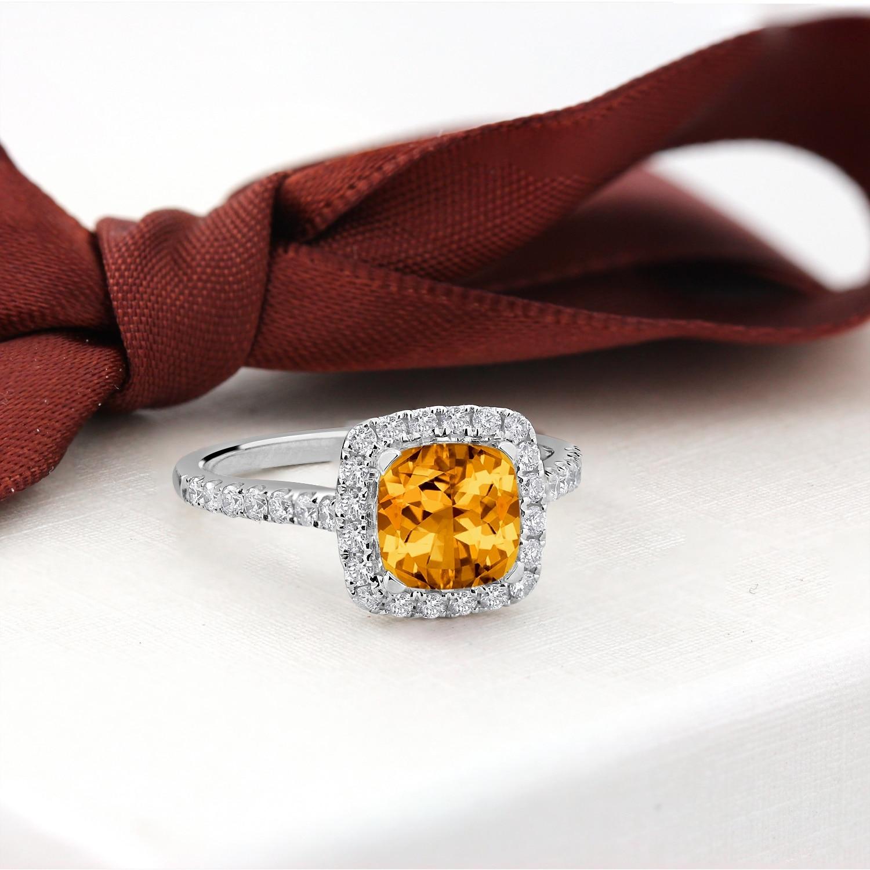 4 Ct Cushion Cut Yellow Citrine Three Stone Engagement Ring 14k White Gold Over