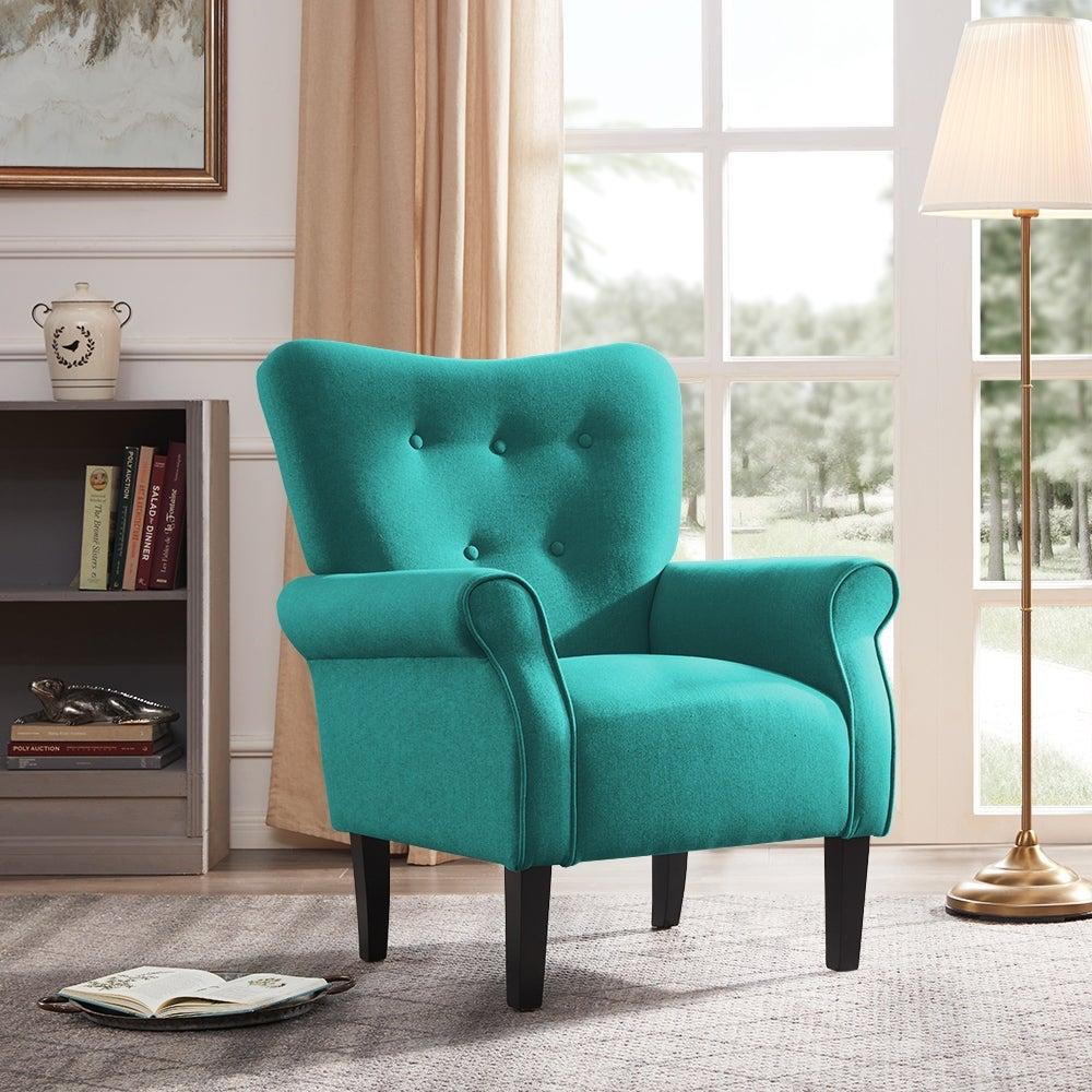 Belleze Living Room Modern Wingback Armchair Accent Chair High Back Linen Mallard Teal