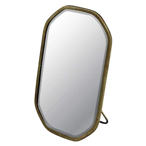 7.5 Inch Hexagonal Mirror with Easel Stand, Brass and Silver