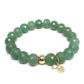 Green Aventurine 'London' Stretch Bracelet, 14k over Sterling Silver