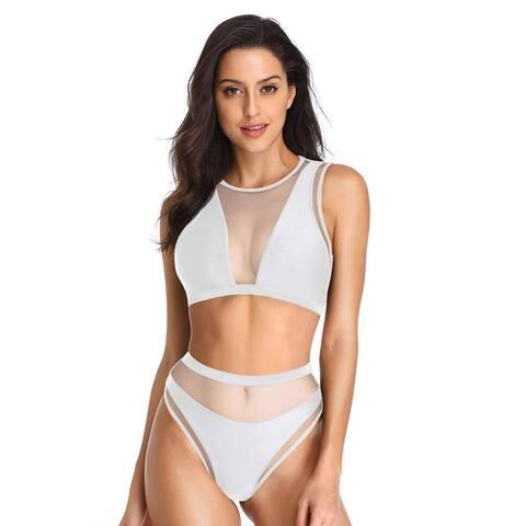 Dixperfect Women's Mesh Insert Bikini Sets Swimsuits High Neck Crop Top with ... - Medium