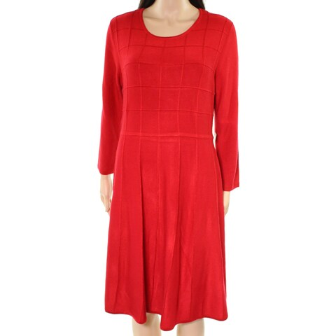 Jessica Howard Red Womens Size XL Fit & Flare Quilted Sweater Dress