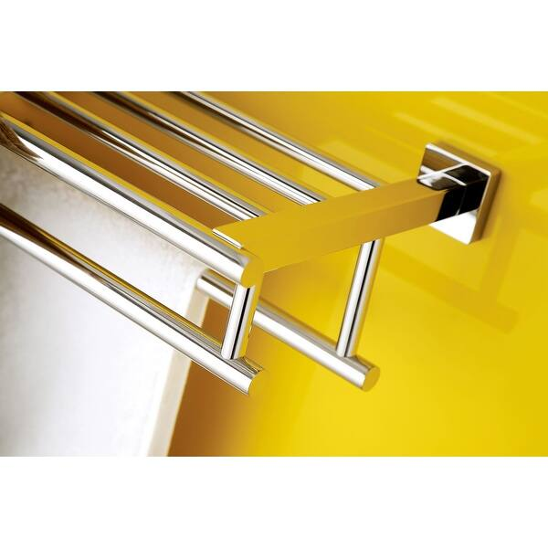 Premium Modern Double Hanging Quadruple Towel Bar Rack W Square Base 24 Inches Polished And Shiny Stainless Steel Overstock 28855548