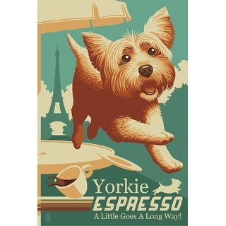 Yorkshire Terrier - Retro Yorkie Espresso Ad - Lantern Press Artwork (Cotton/Polyester Chef's Apron)