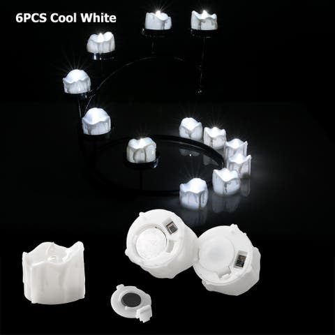 Image 6PCS Flameless LED Tealight Light Candles Flickering Flashing Wax Dripped Cool White - SIZE