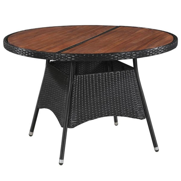 "vidaXL Outdoor Dining Table Poly Rattan and Solid Acacia 45.3""x29.1"""