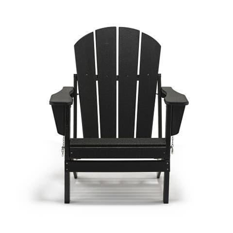Outdoor Patio Plastic Folding Black Adirondack Chair Set 6/8/10