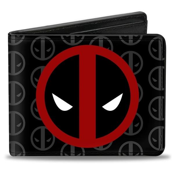 Marvel Universe Deadpool Logo Centered Monogram Black Gray Red White Bi Bi-Fold Wallet - One Size Fits most