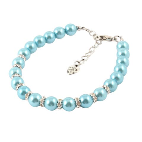 Imitation Pearl Decor Lobster Clasp Pet Dog Cat Puppy Collar Necklace - Sky Blue, Silver Tone