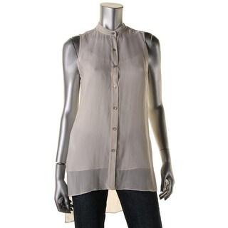 Eileen Fisher Womens Petites Silk Hi-Low Button-Down Top