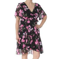 INC Womens Black Printed Short Sleeve V Neck Above The Knee Faux Wrap Dress  Size: S