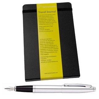 Hahnemühle Travel Journal with Cross Fountain Pen Polished Chrome