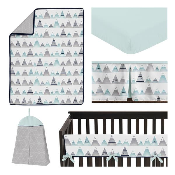 Navy blue and aqua crosses nursery set items