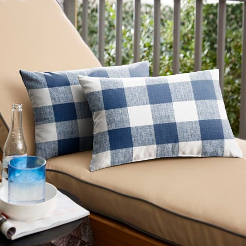 Humble + Haute Dark Blue Buffalo Plaid Indoor/ Outdoor Lumbar Pillow, Set of 2