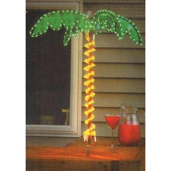 30 tropical lighted holographic rope light outdoor palm tree yard decoration - Hologram Outdoor Christmas Decorations