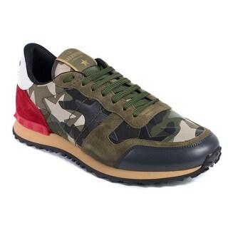 Valentino Mens Green Rockrunner Camustars Sneakers