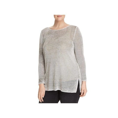 Nic + Zoe Womens Plus Blouse Sheer Long Sleeve