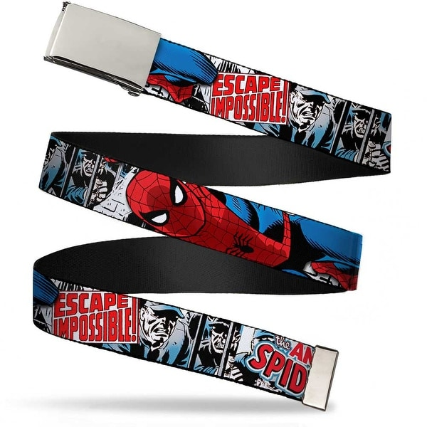 Blank Chrome Buckle The Amazing Spider Man Escape Impossible Color Web Belt - S