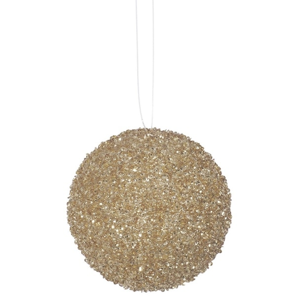 """3ct Sparkling Champagne Sequin and Glitter Drenched Christmas Ball Ornaments 4.75"""" (120mm)"""