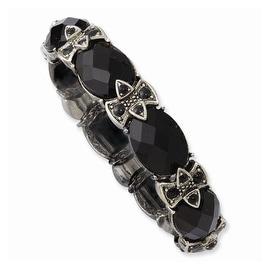 Silvertone Black Crystal & Enamel Stretch Bracelet
