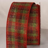 "Rustic Green and Rust Plaid Wired Craft Ribbon 2.5"" x 40 Yards"