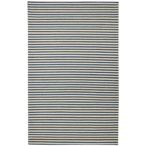 """One of a Kind Hand-Woven Modern & Contemporary 5' x 8' Stripe Wool Black Rug - 5'0""""x8'0"""""""