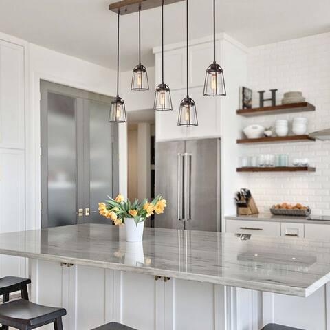 "Modern Farmhouse 5-lights Linear Chandelier Kitchen Island Ceiling lighting - L29"" * W4.72"" * H69"""