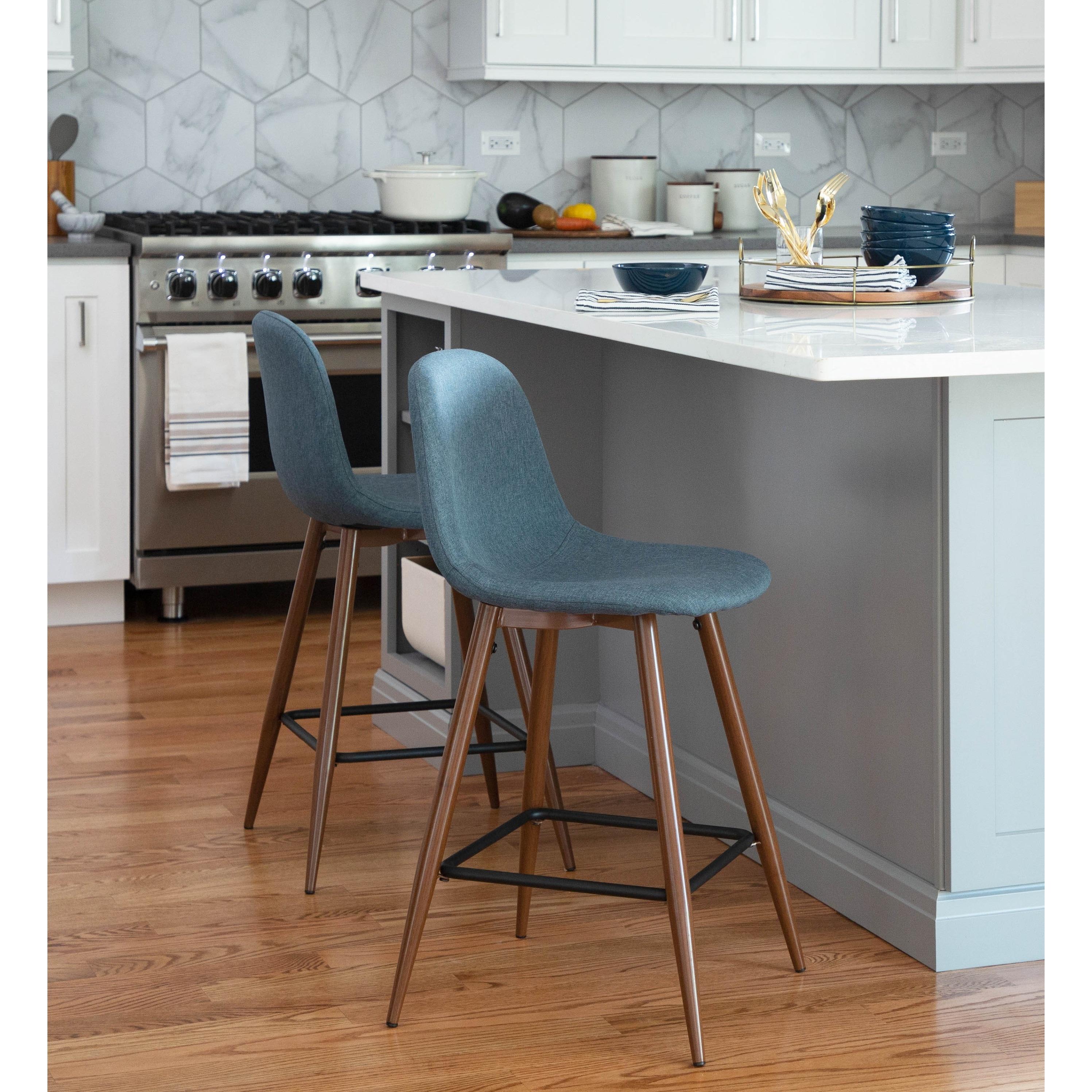 Pebble Mid Century Modern Upholstered Kitchen Counter Stool Set ...