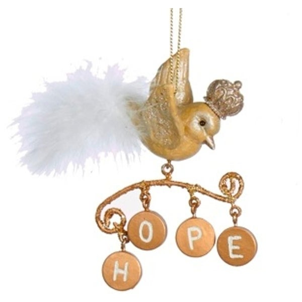 "4"" Gold Bird with Dangling Inspirational Hope Charms Christmas Ornament"
